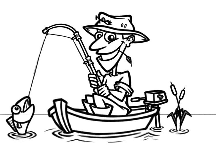 Fisherman clipart outline. Cartoon in boat card