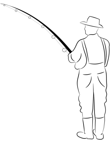 Fisherman clipart printable. Coloring page free pages