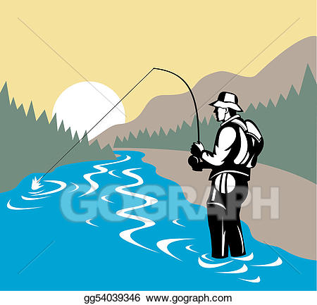 Stock illustration in with. Fisherman clipart river fishing