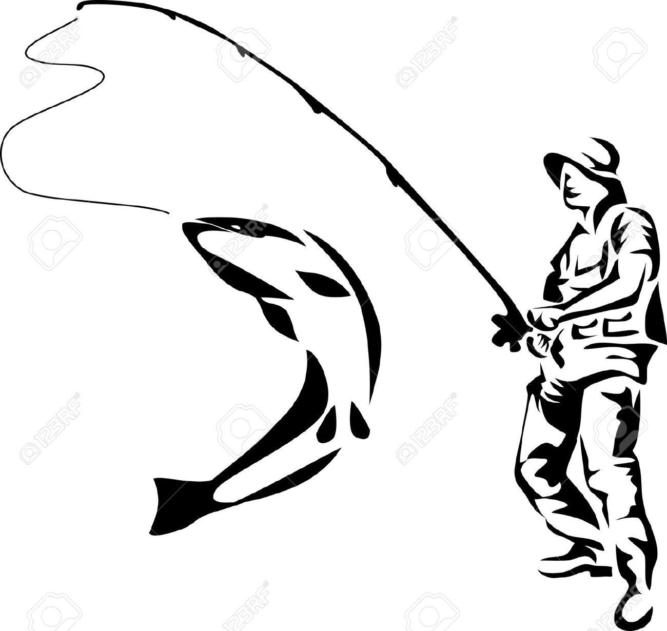Images google search silhouette. Fisherman clipart salmon fishing