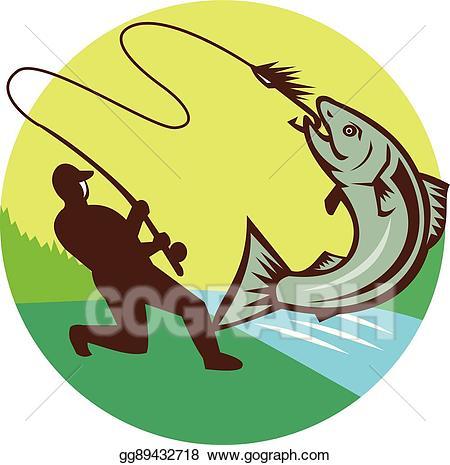 Fisherman clipart salmon fishing. Vector illustration fly hooking