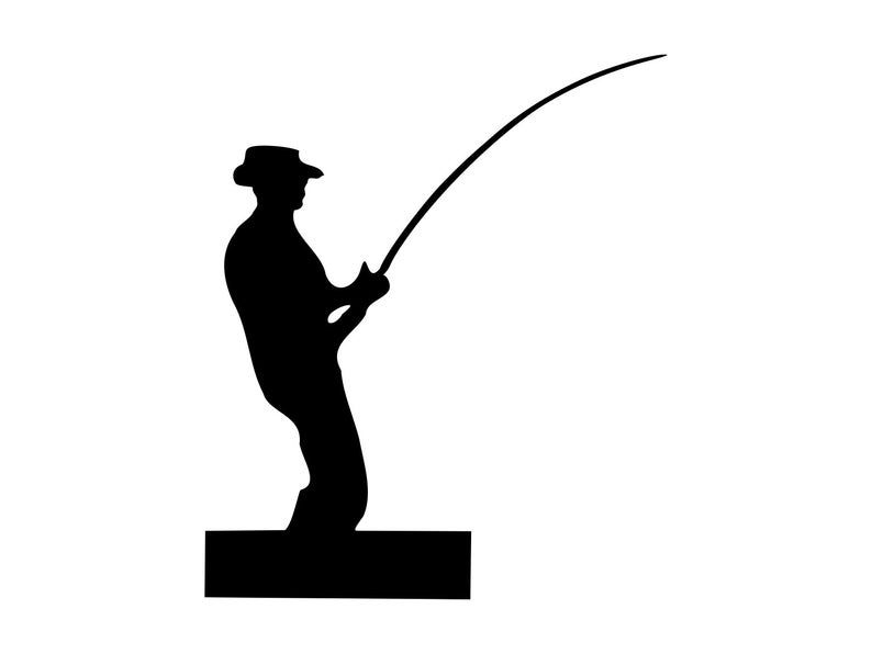 Fisherman clipart svg. Fishing man silhouette png