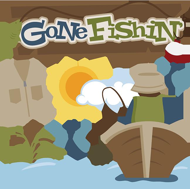 Fisherman clipart svg. Gone fishin files for