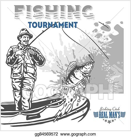 Vector art fisherman and. Retro clipart fishing