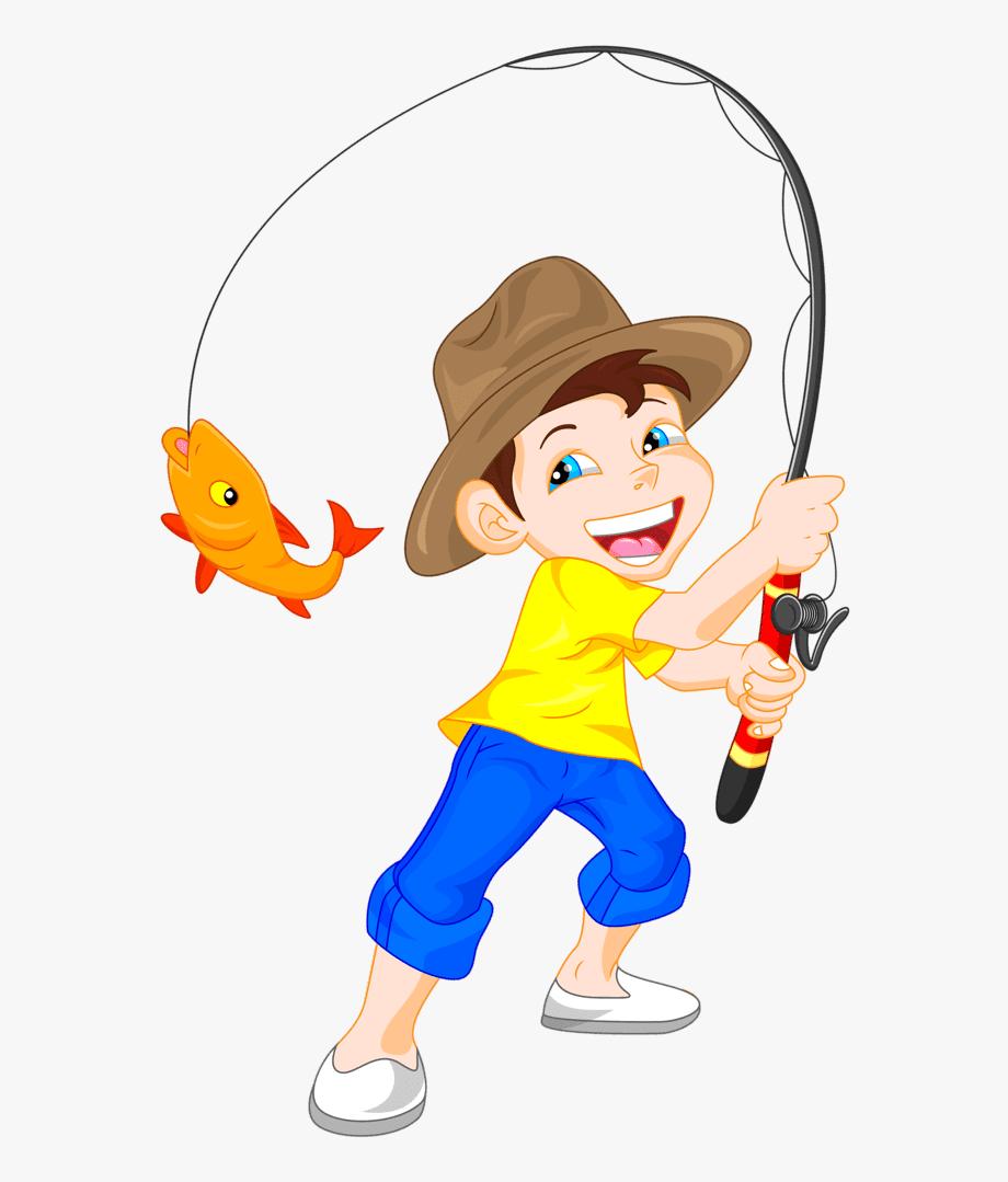 Fish clipart boy. Fishing little kid