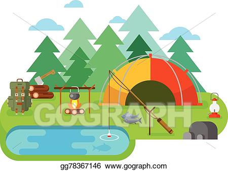 Vector stock outdoor recreation. Fishing clipart camping