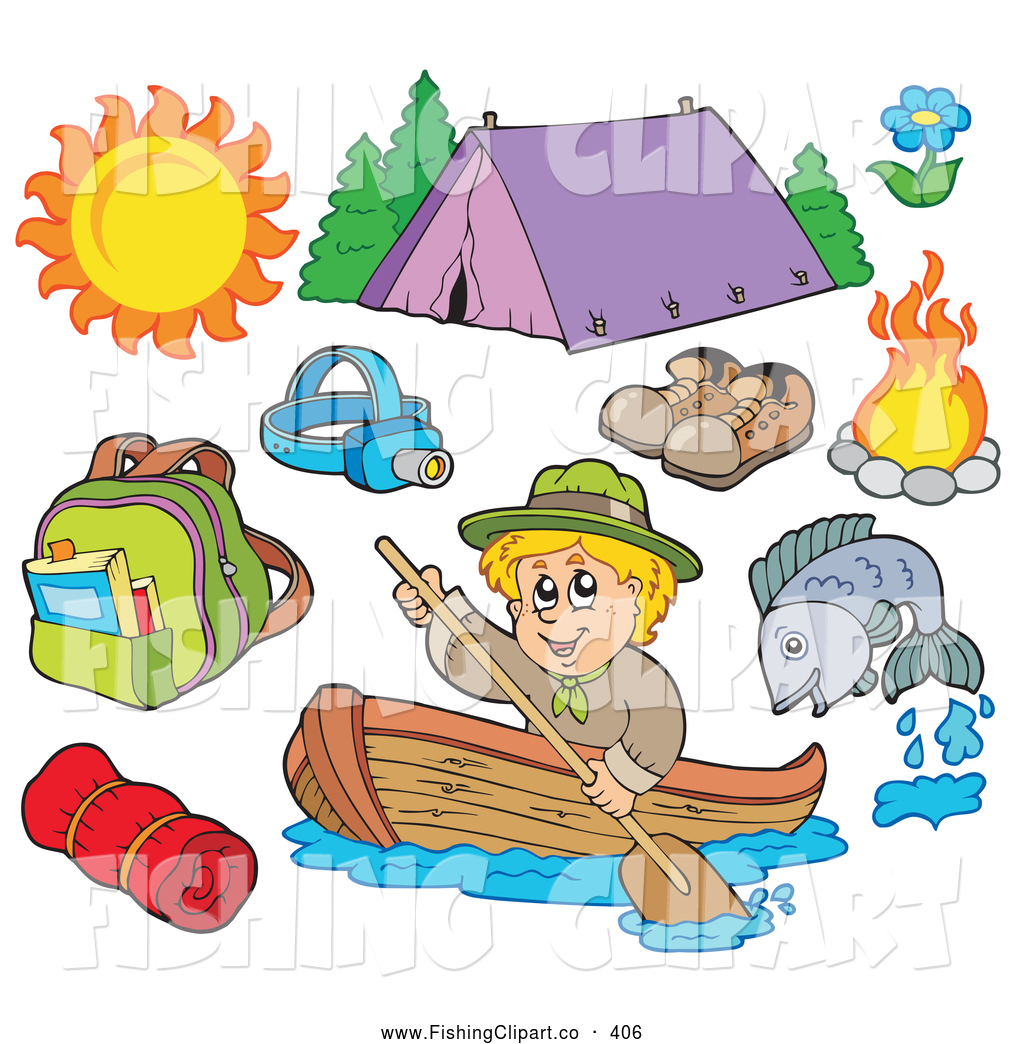 Clip art of a. Fishing clipart camping
