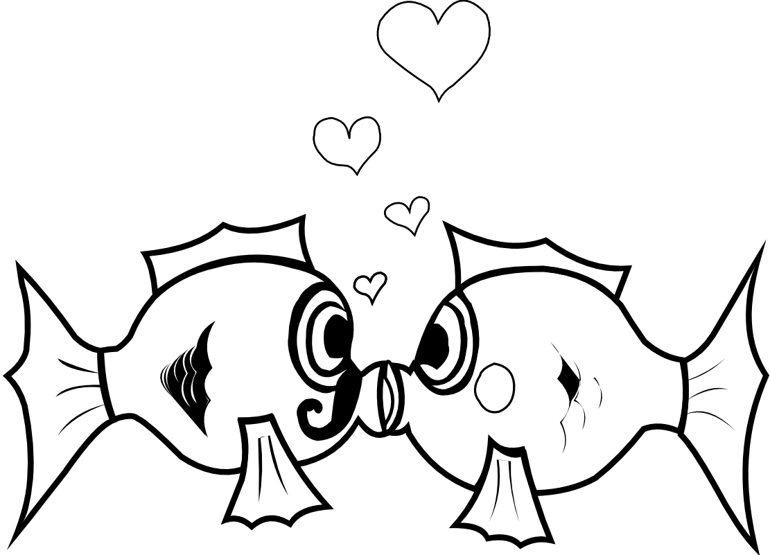 Kissing fish black and. Tuna clipart cartoon