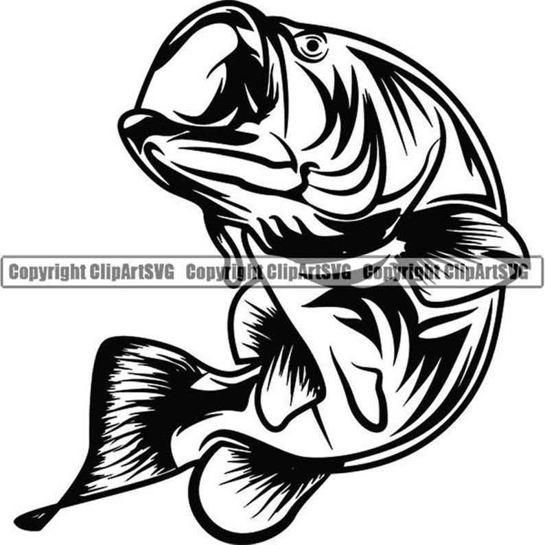 Bass logo angling hook. Fishing clipart fish hunter