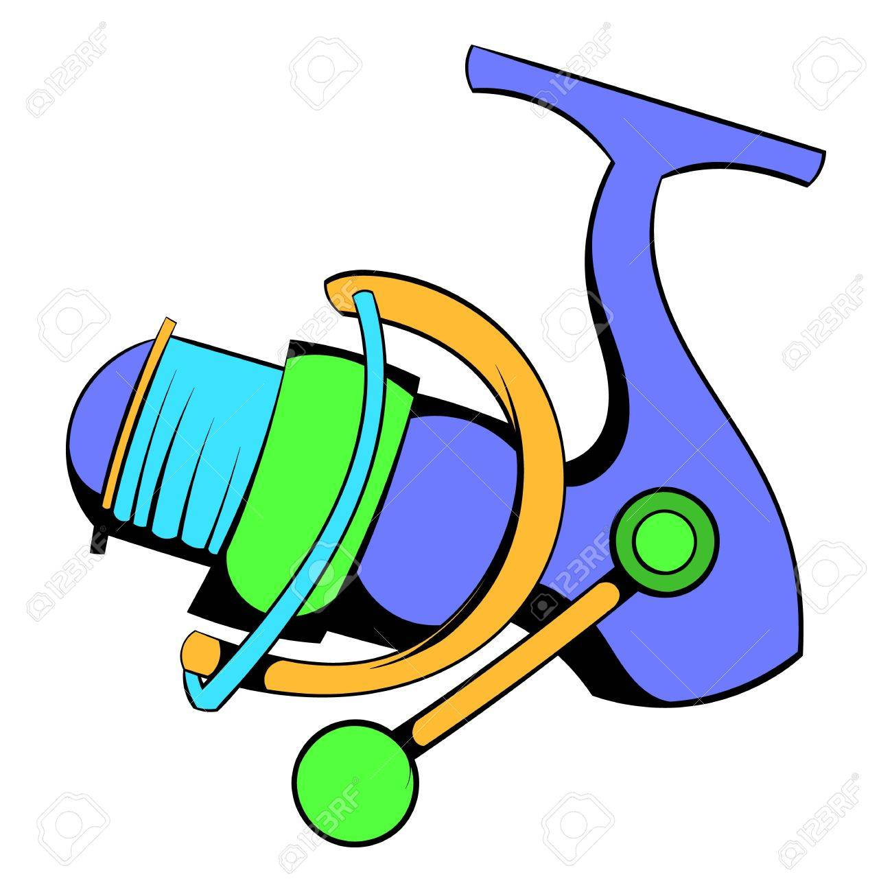 Icon cartoon portal . Fishing clipart fishing reel