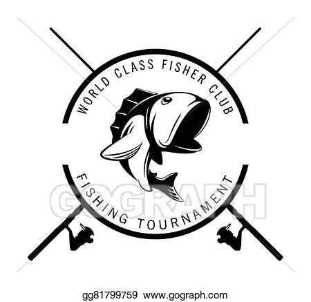 Vector art badge drawing. Fishing clipart fishing tournament