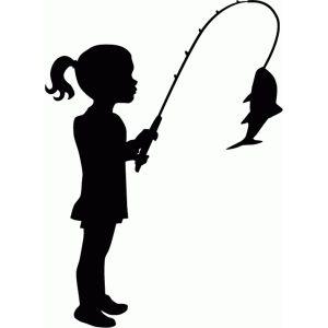 Silhouette cricut fish . Fishing clipart little girl
