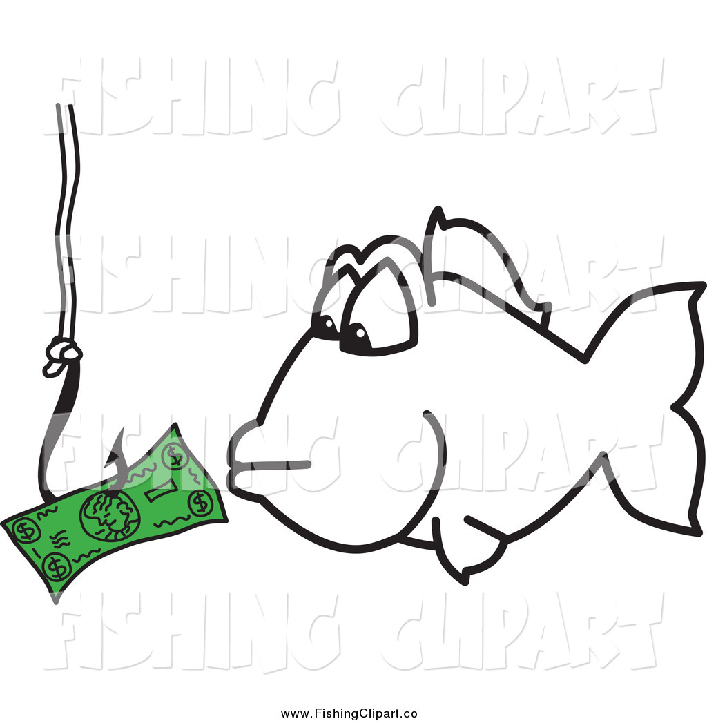 Clip art of a. Fishing clipart money