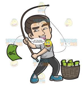 Fishing clipart money. An asian guy catching
