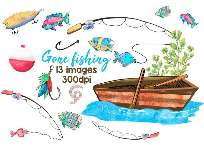Clip art lures boat. Fishing clipart watercolor