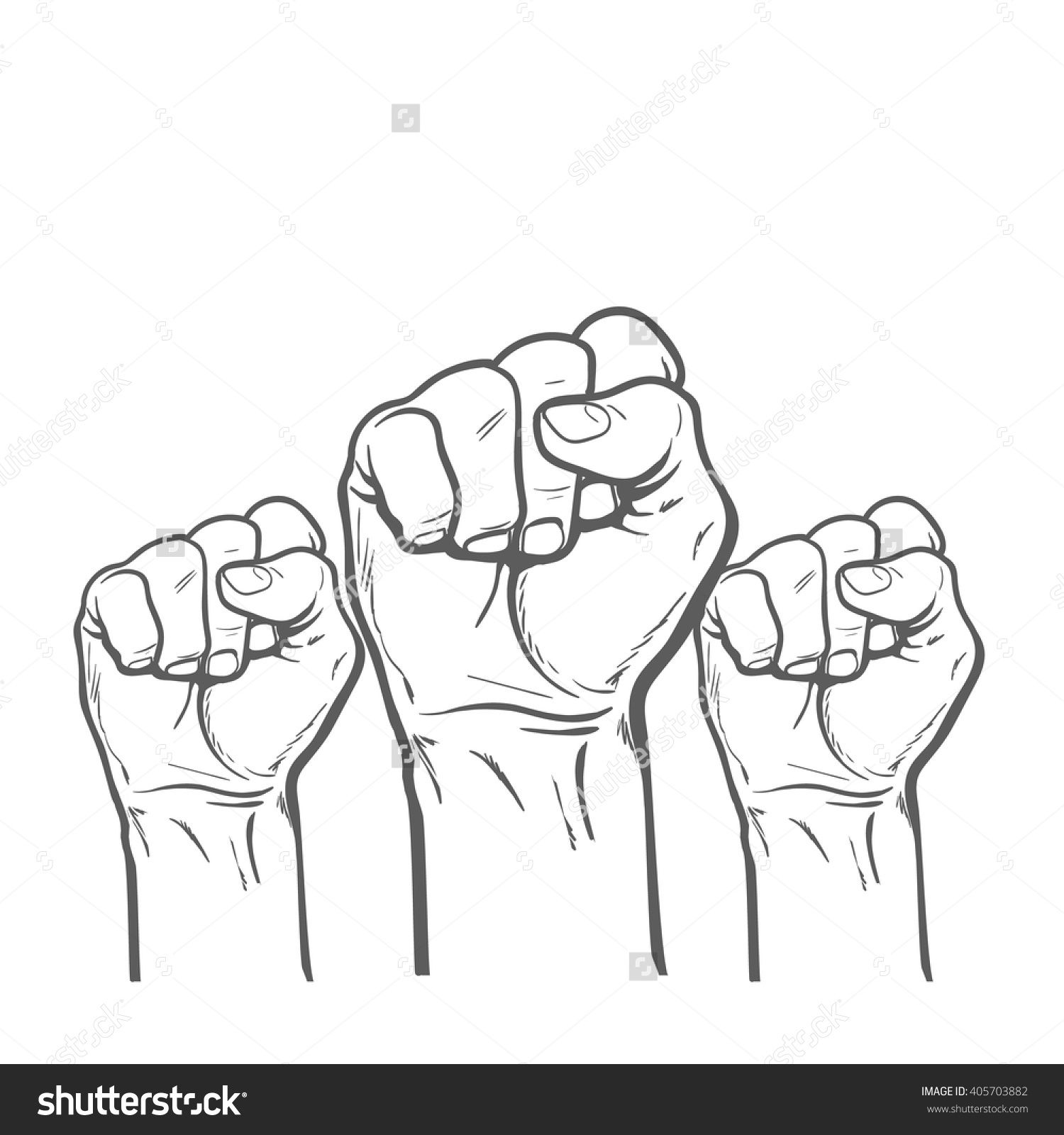Many mans vector illustration. Fist clipart air drawing