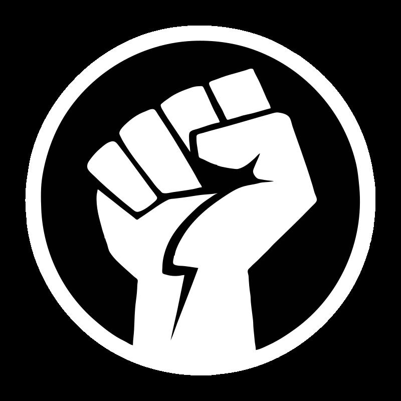 Power bw medium image. Fist clipart black and white