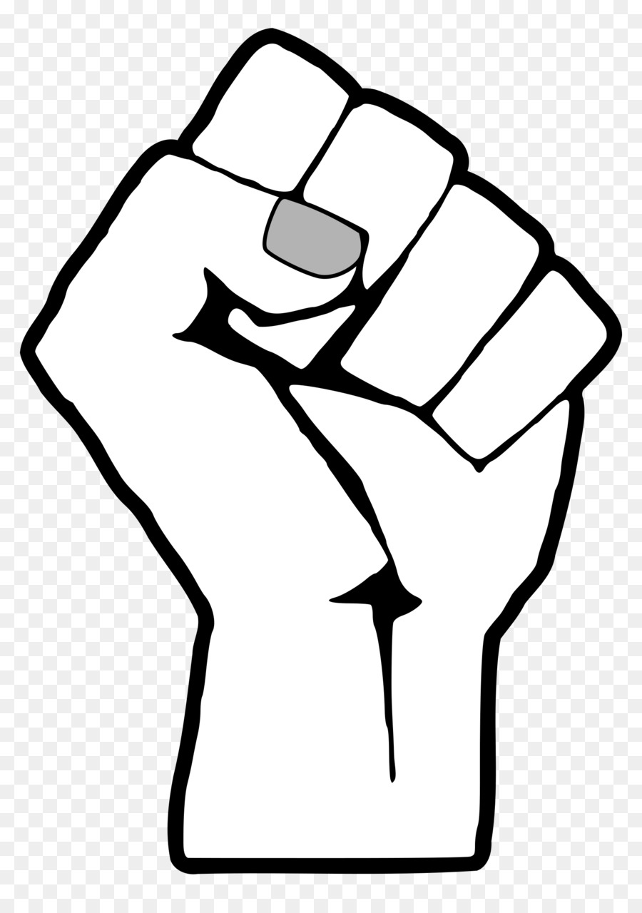 Fist clipart black and white. Power hand transparent