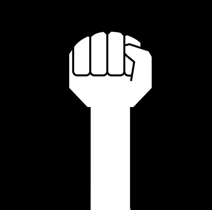 Women power sharing stories. Fist clipart empowerment