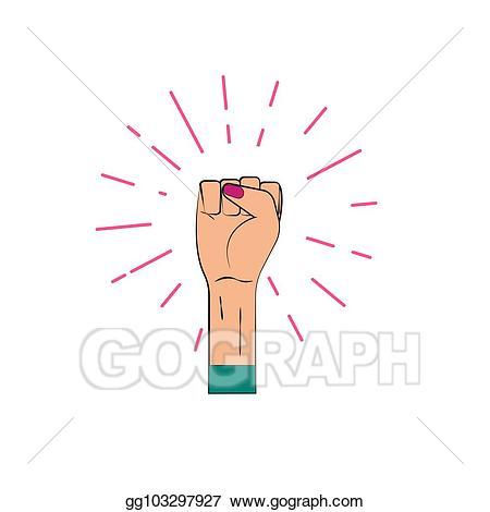 Fist clipart female. Vector raised up illustration