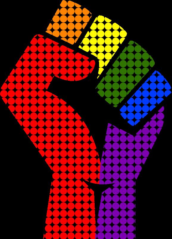 Rainbow remixed medium image. Fist clipart female