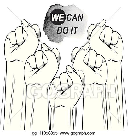 Fist clipart female. Eps illustration fists protest