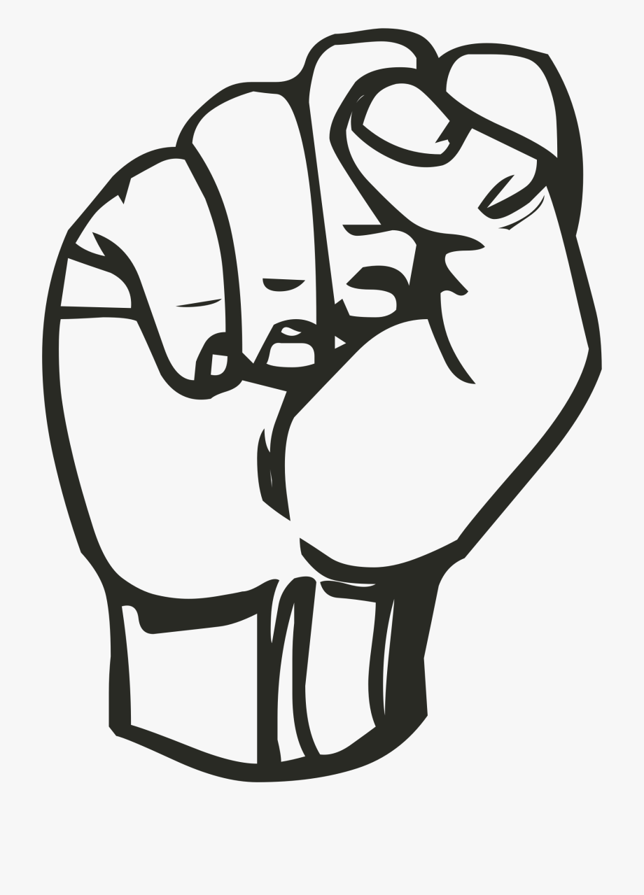 Clenched png sign language. Fist clipart hand close