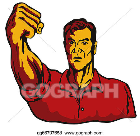 Fist clipart man. Stock illustration with clenched