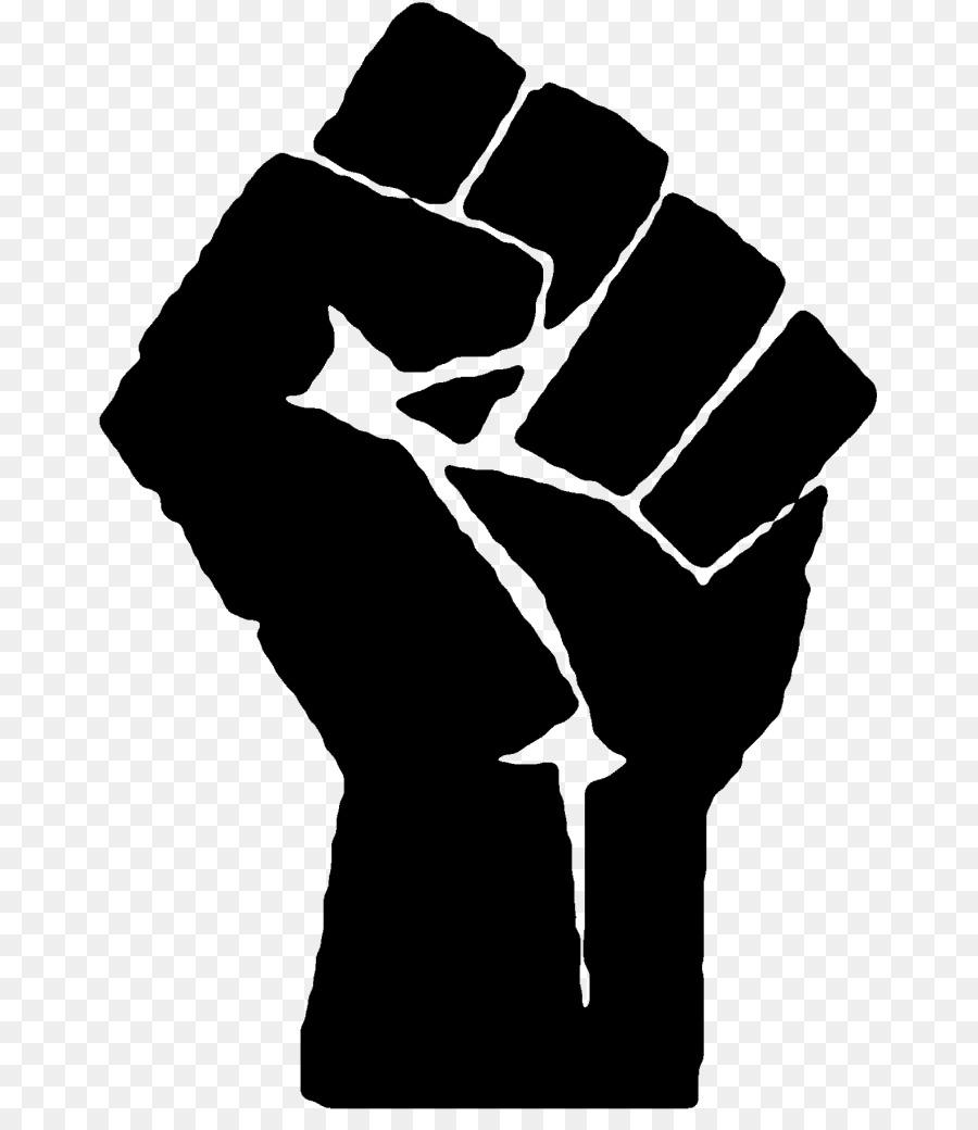Fist clipart raised fist. Black line background hand