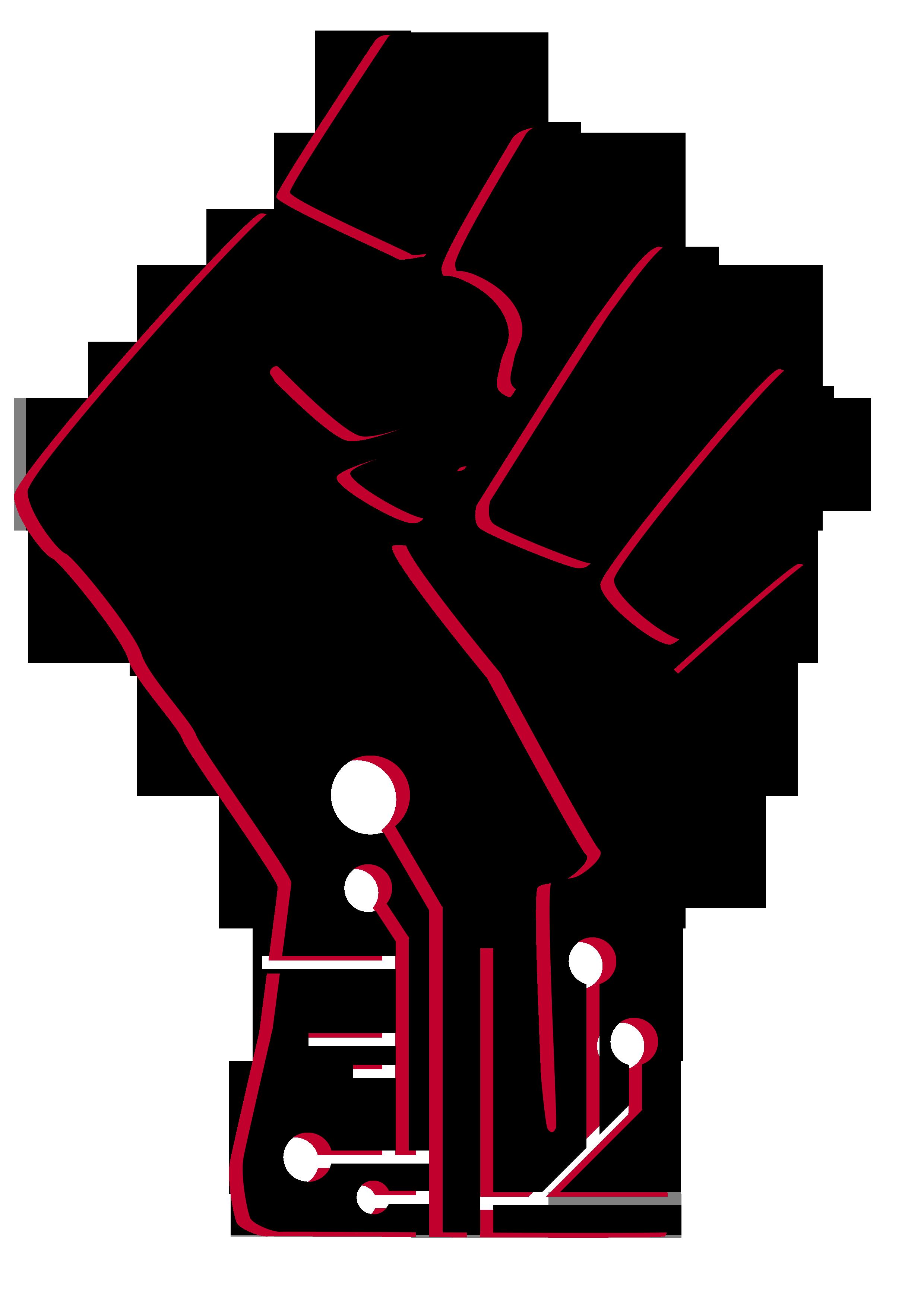 Streak club . Fist clipart stencil