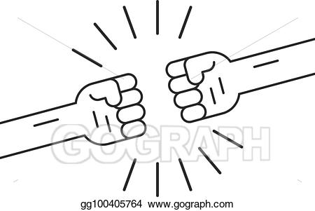 Vector stock fighting gesture. Fist clipart two