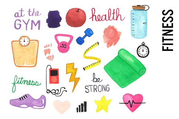 Health watercolor illustrations creative. Fitness clipart