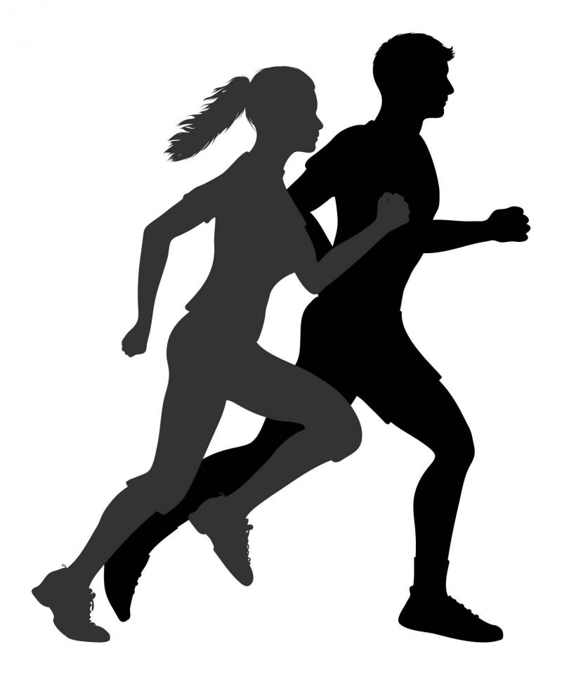 Silhouette man and woman. Fitness clipart