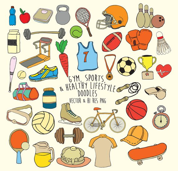 Doodle gym sports scribble. Fitness clipart