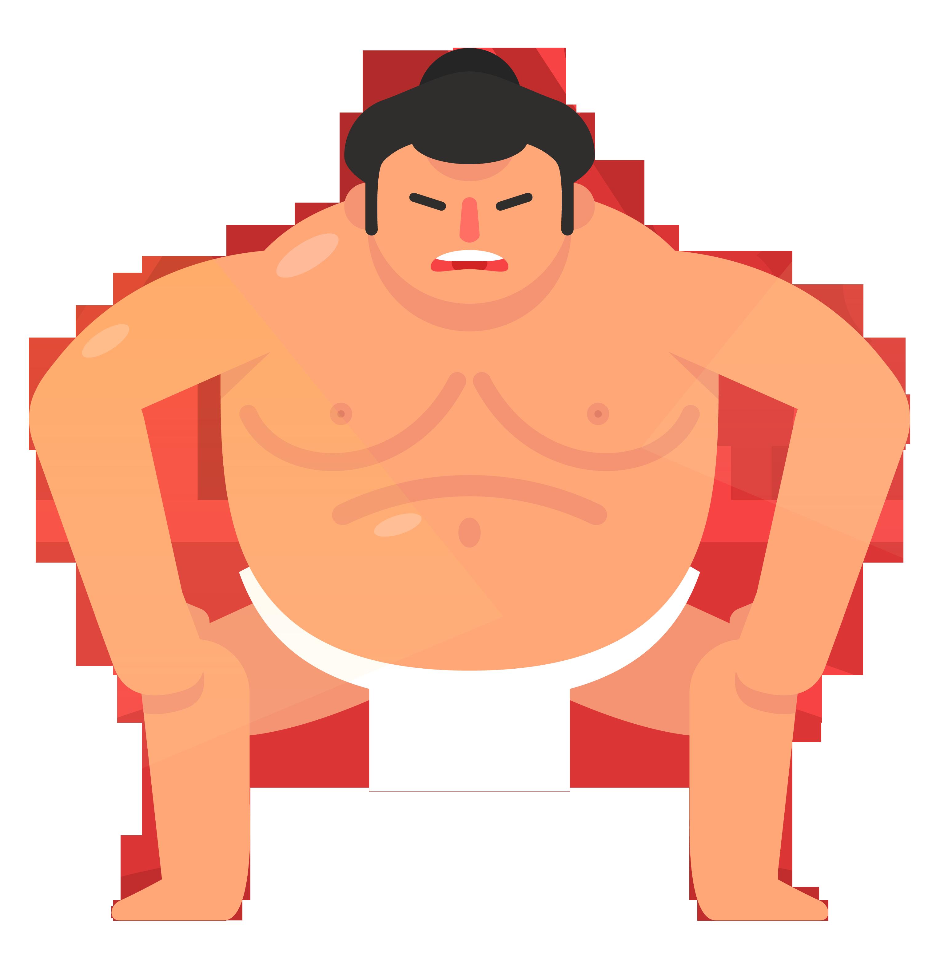 Sumo wrestling cartoon clip. Skin clipart illustration