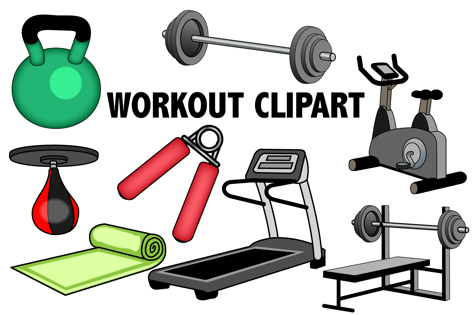 Workout . Fitness clipart gym equipment