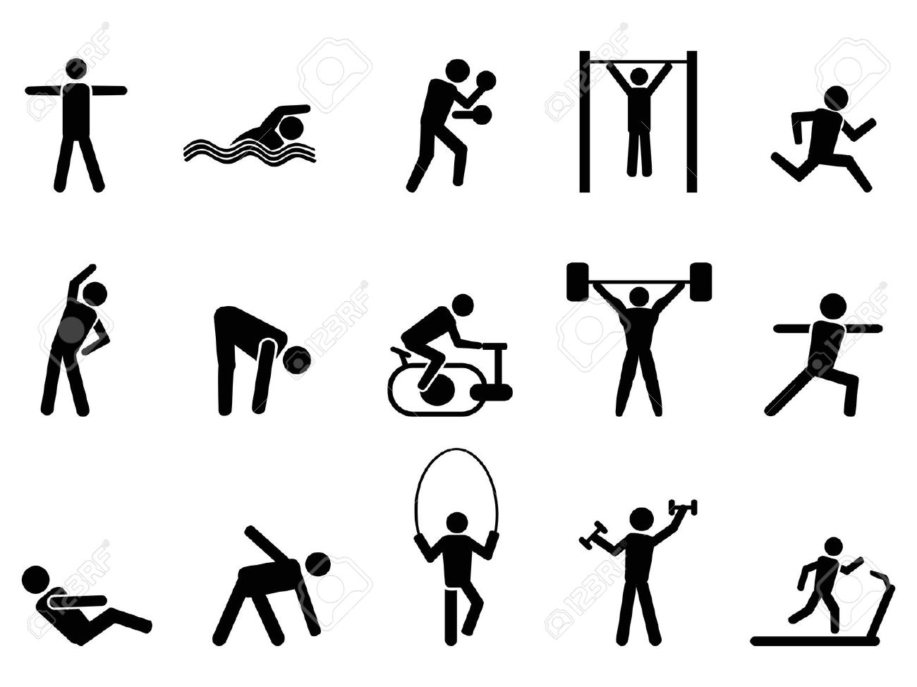 Silhouette illustration of figure. Fitness clipart physical wellness