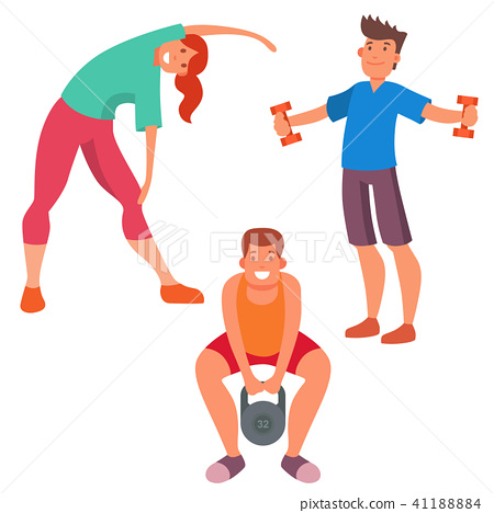 People gym sporty club. Fitness clipart physical wellness