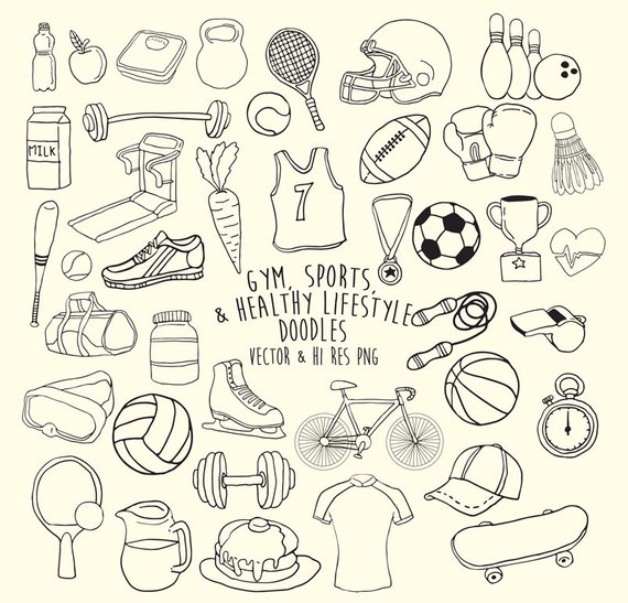 Doodle sports fitness . Gym clipart sketch