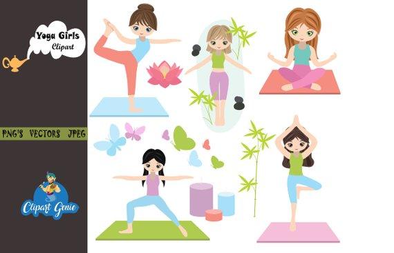 Fitness clipart yoga. Clip art girls