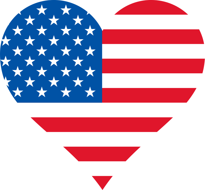 Hearts clipart flag. Stars and stripes heart
