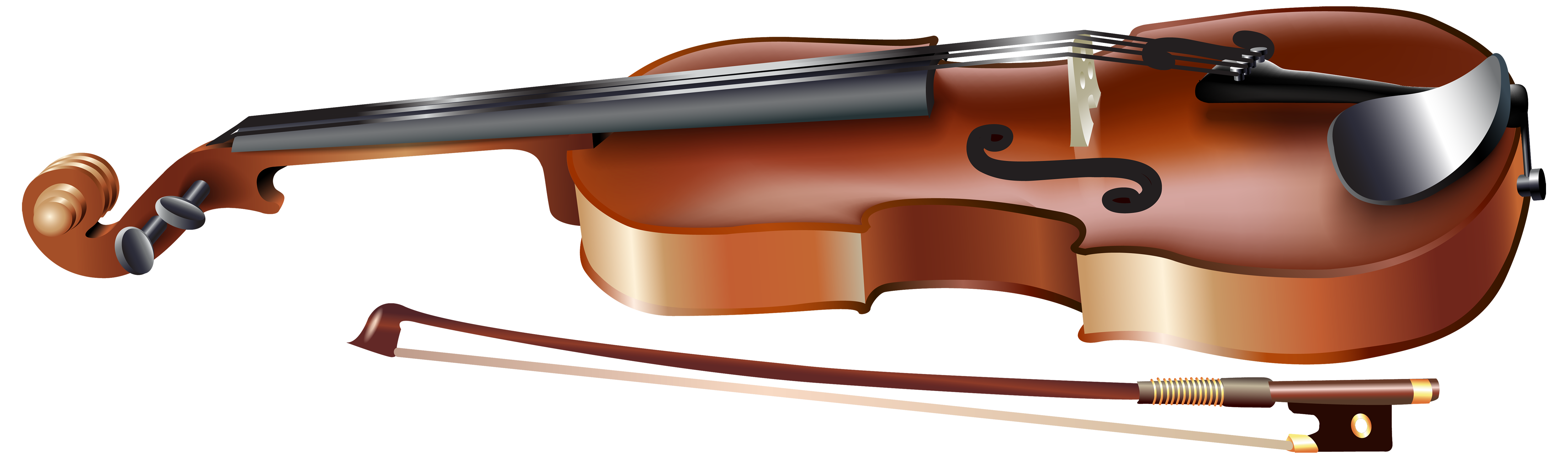 Name clipart musical instruments. Violin with bow png