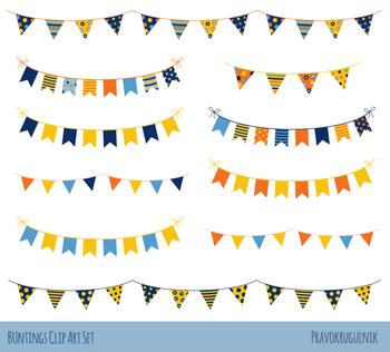 Birthday bunting party banner. Garland clipart streamer