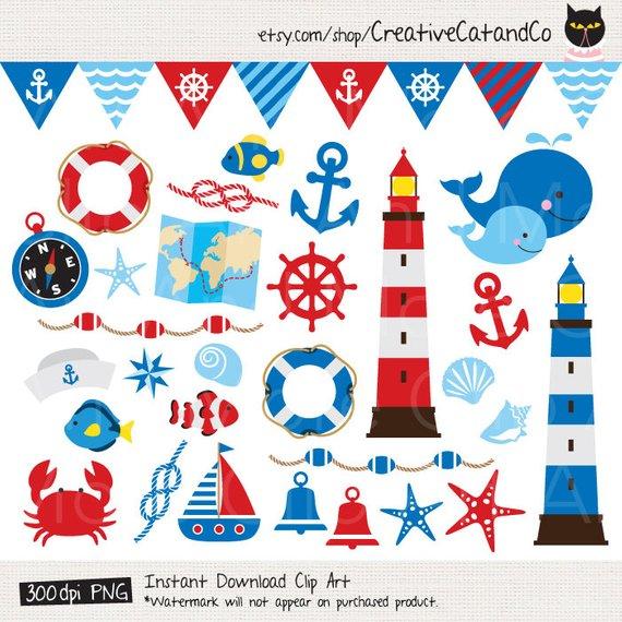 Nautical sailing anchor lighthouse. Flag clipart summer