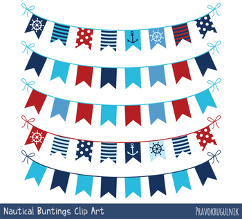 Flag clipart summer. Red blue nautical bunting