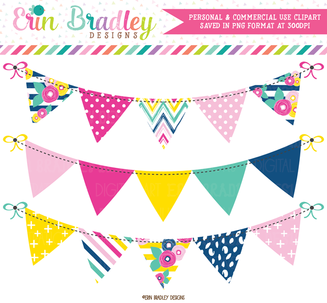 Brights bunting banner clip. Flag clipart summer