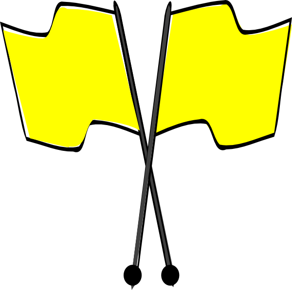 Crossed yellow flags clip. R clipart flag