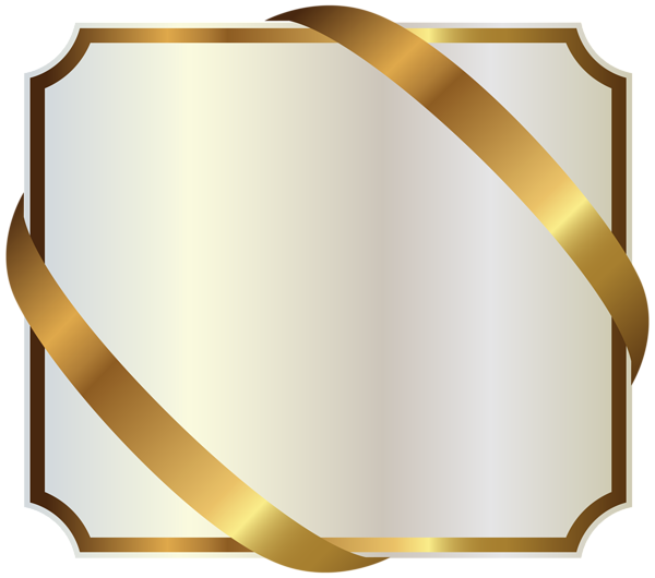 Flags clipart label. White with gold ribbon