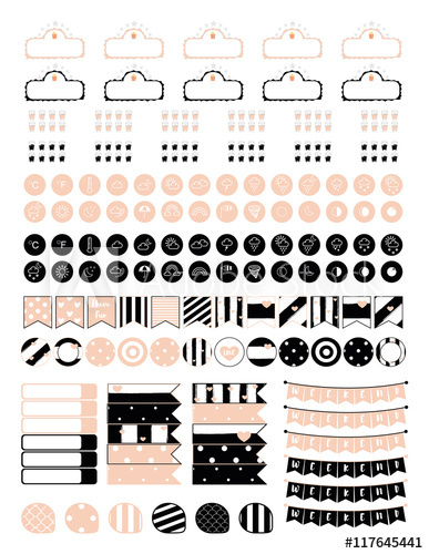 Minimalistic set of elements. Planner clipart small