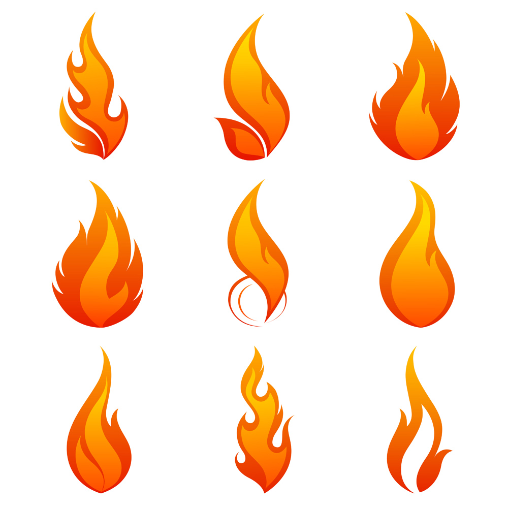 Flame clipart. Vector pencil and in